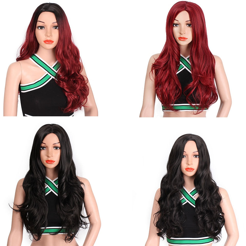 Long Wavy Red Black Pink Synthetic Wigs for Women Cosplay Party