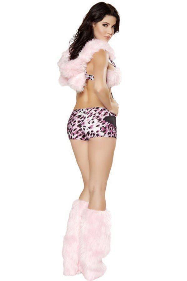 BFJFY Women Sexy Pink Faux Fur Leopard Catlady Halloween Cosplay Costume - bfjcosplayer