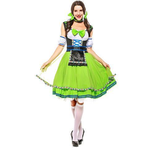 BFJFY Adult Womens Sexy Beer Girl Maid Dress Costume Two Colors Oktoberfest Is Ready For You - bfjcosplayer