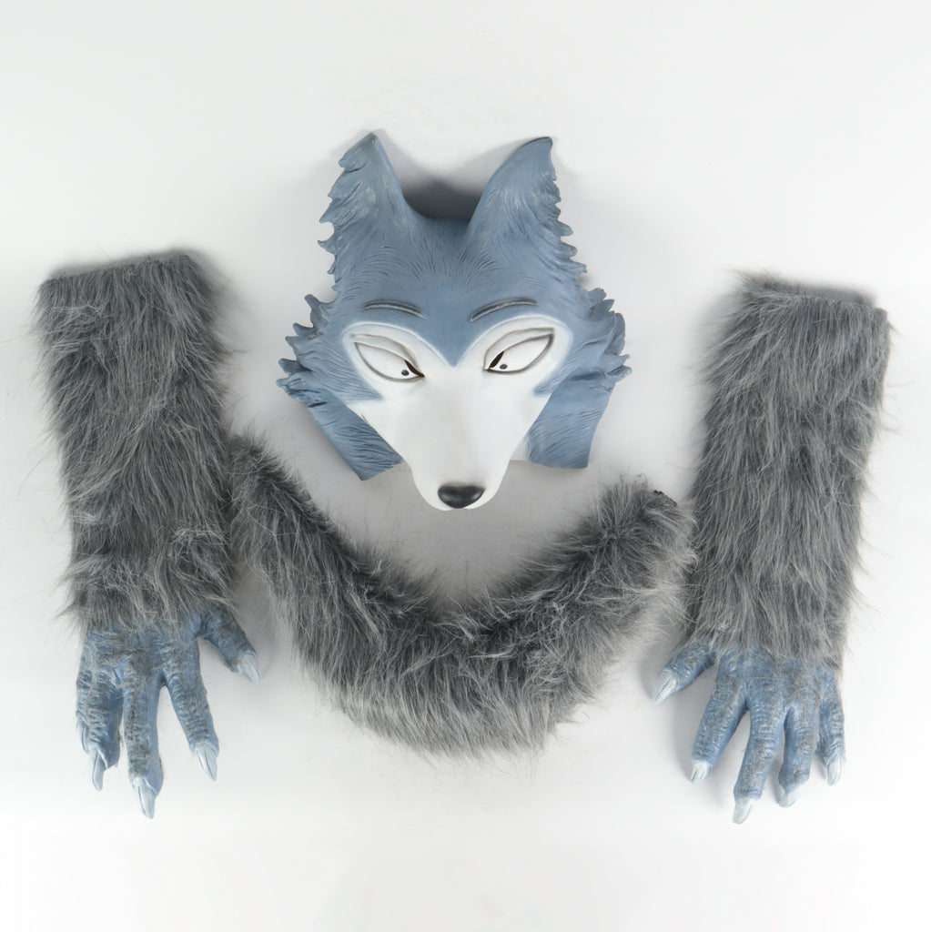 Anime BEASTARS Legoshi The Wolf Costumes Face Helmet Gloves Tail Cosplay Animal Wolf Helmet Masquerade Costume Props
