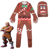 Fortnite Kid Cosplay MERRY MARAUDER Costume Gingerbread Man Halloween Jumpsuit - bfjcosplayer