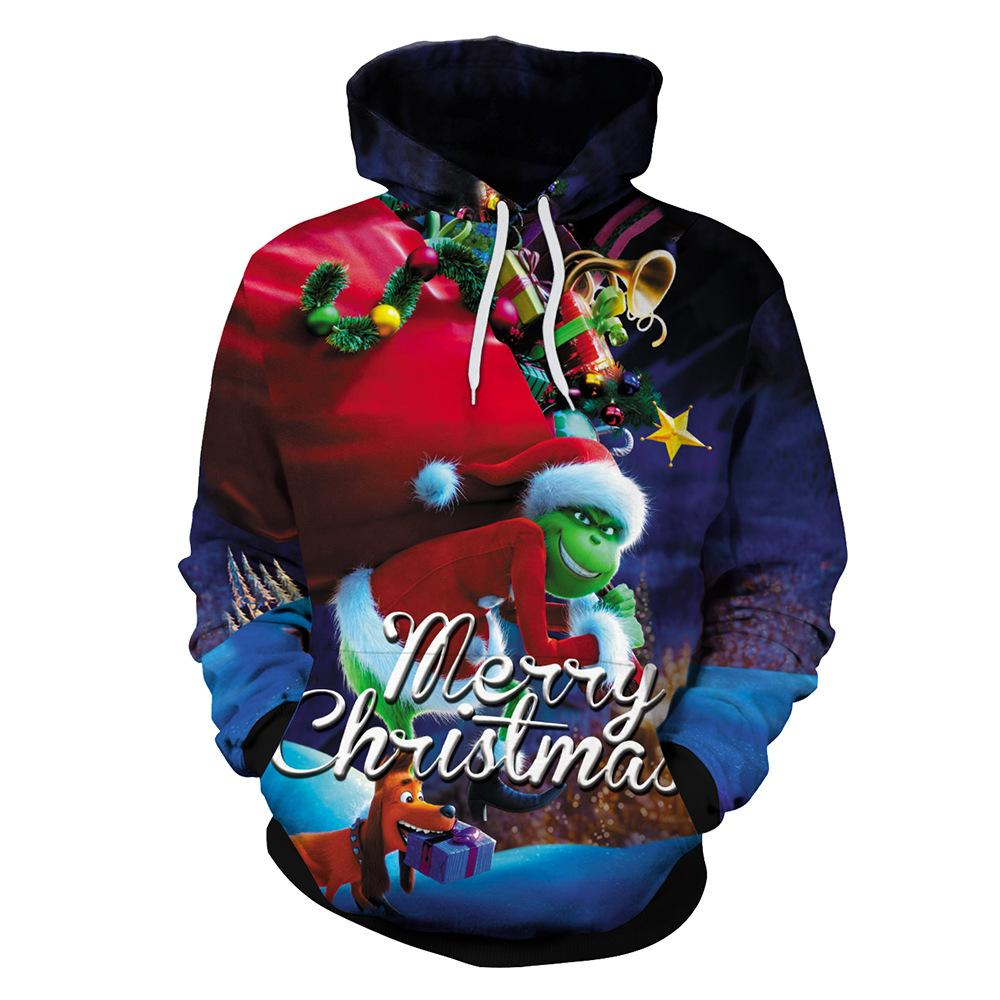 Christmas The Grinch Hoodies Sweatshirts cosplay costume Grinch 3D Printing zipper - bfjcosplayer