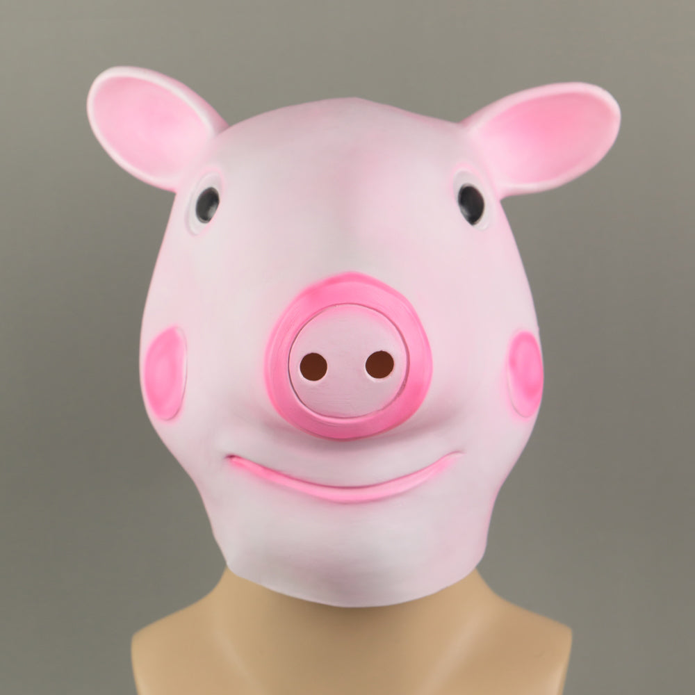 Cosplay Cute Pig George Halloween Animal Masquerade Fancy Dress Latex Helmet