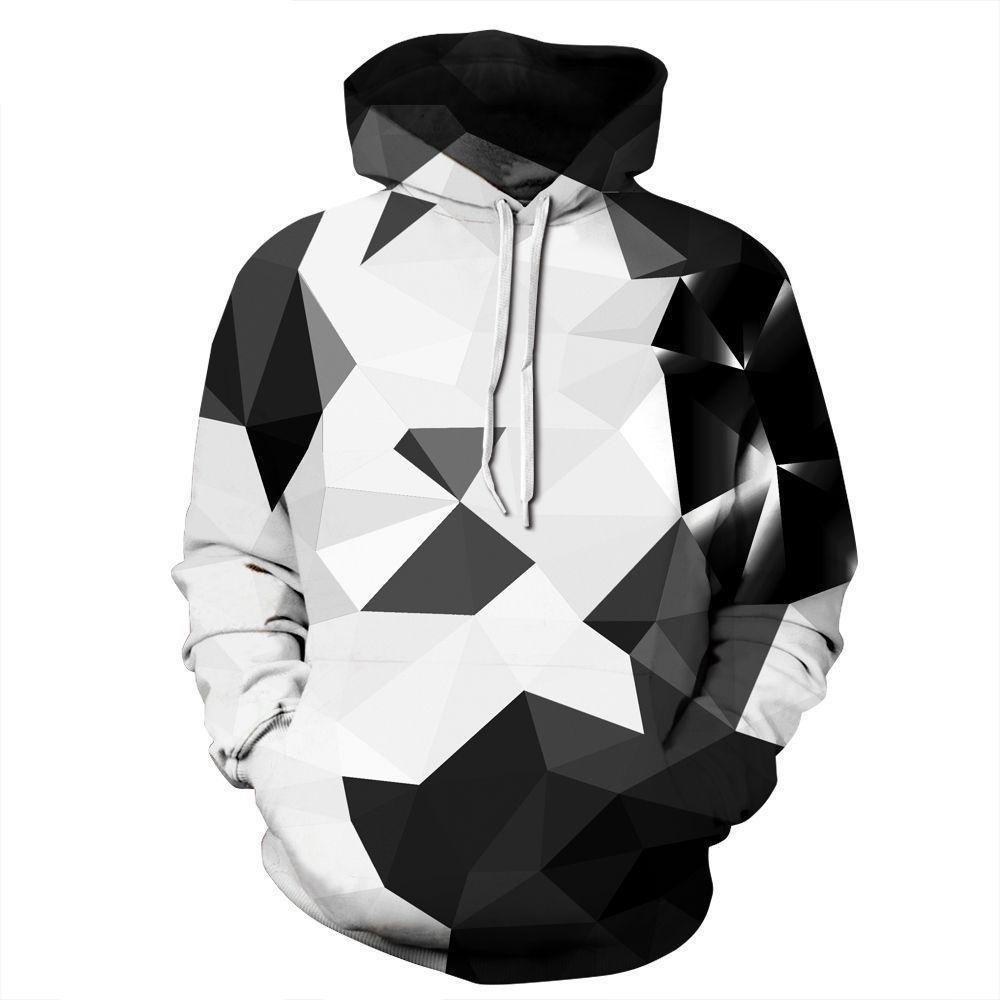 BFJmz Black And White Geometry 3D Printing Coat Leisure Sports Sweater Autumn And Winter - bfjcosplayer