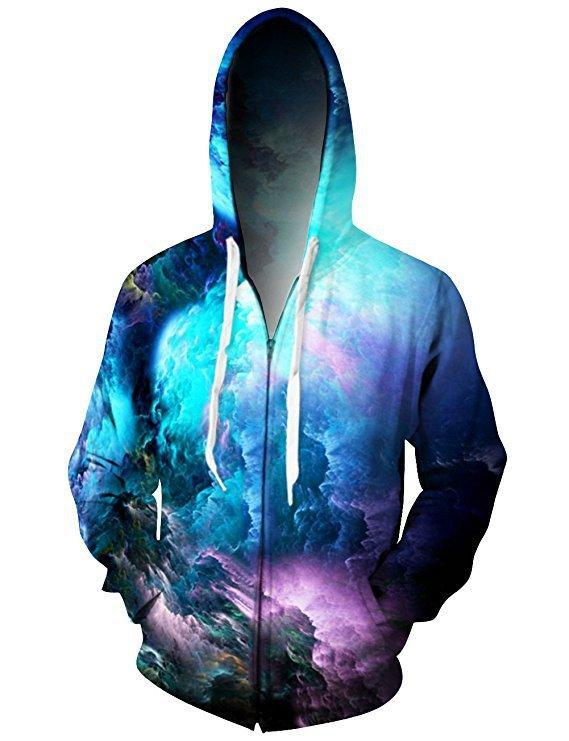 BFJmz Colorful Cloud Printing Hooded Sweater 3D Printing Coat Leisure Sports Sweater Autumn And Winter - bfjcosplayer