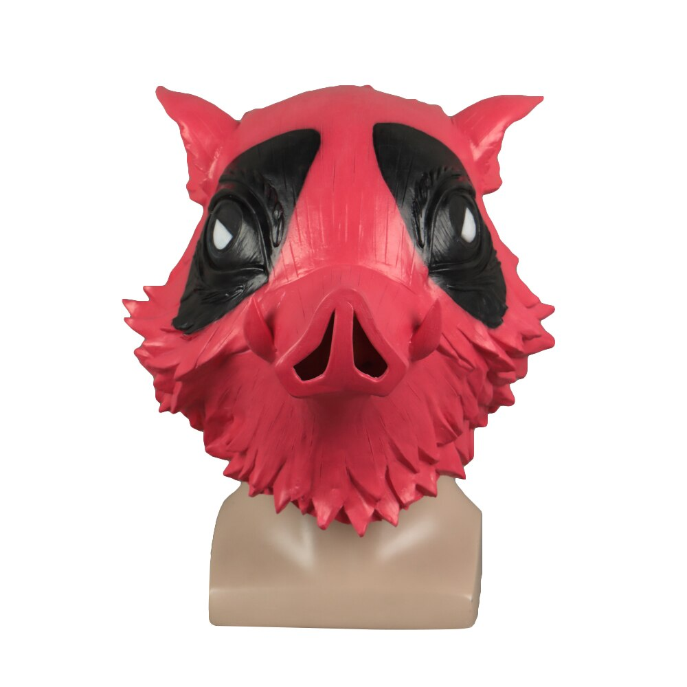 Demon Slayer Kimetsu no Yaiba Cosplay Hashibira Inosuke Helmet Deadpool Halloween Party Latex Helmet Props