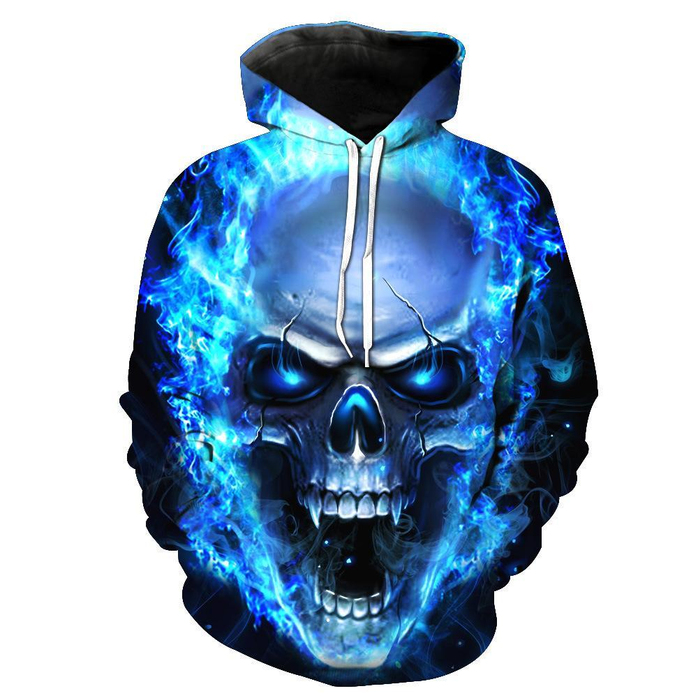 BFJmz Blue Flame Skull 3D Printing Coat Leisure Sports Sweater Autumn And Winter - bfjcosplayer
