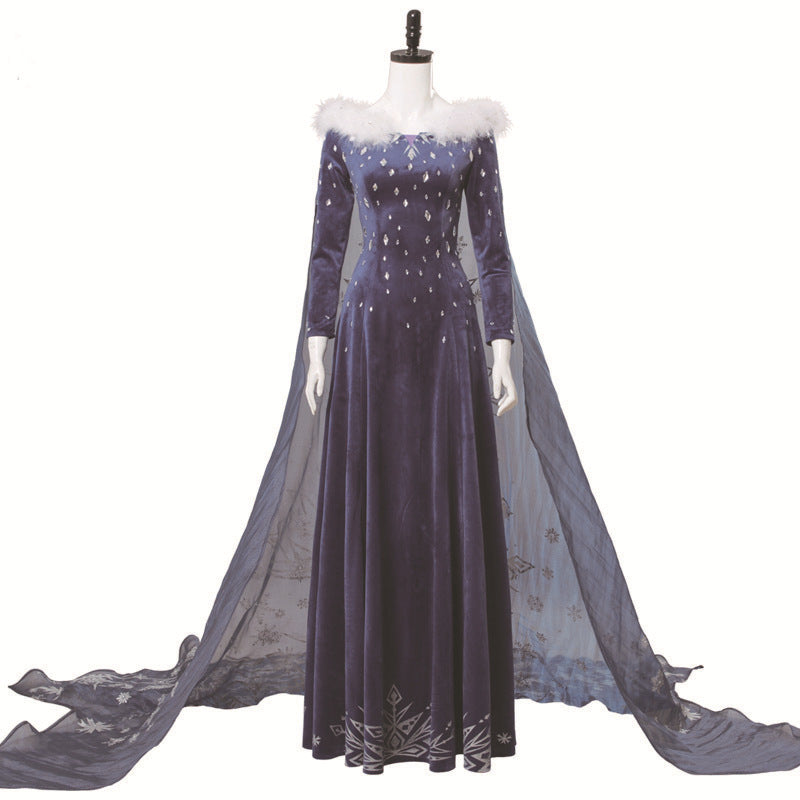 Frozen 2 Princess elsa Luxury Dress cosplay costume Halloween props
