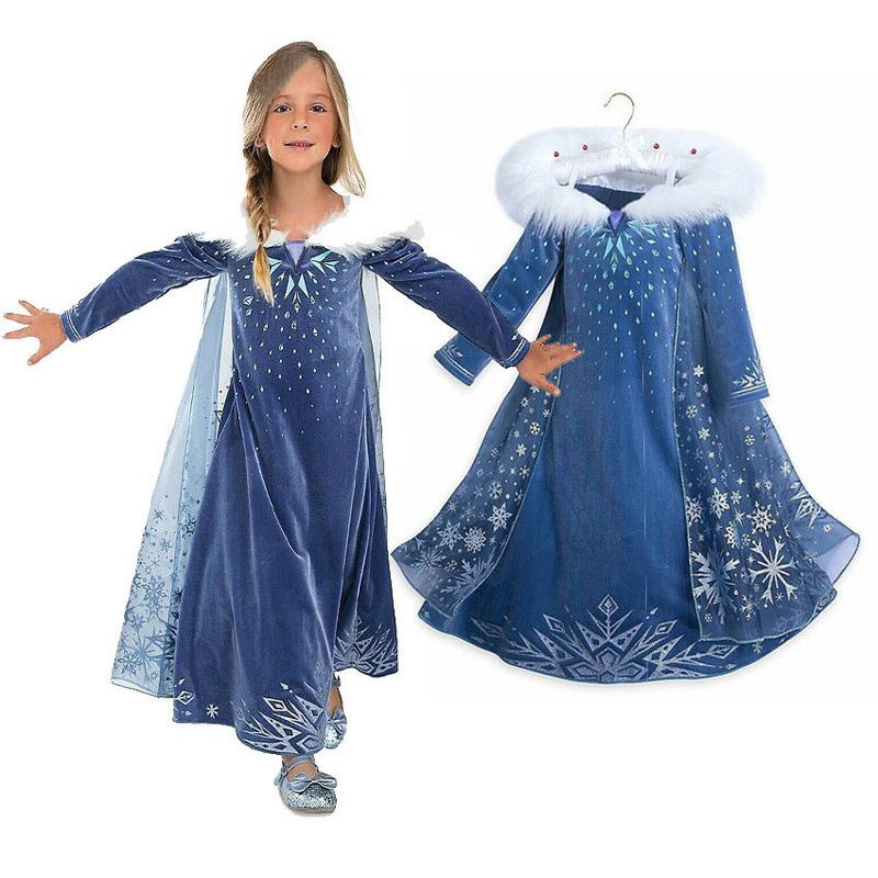 2019 new Kids Frozen Aisha dress girl Anna Princess skirt dress cosplay costume - bfjcosplayer