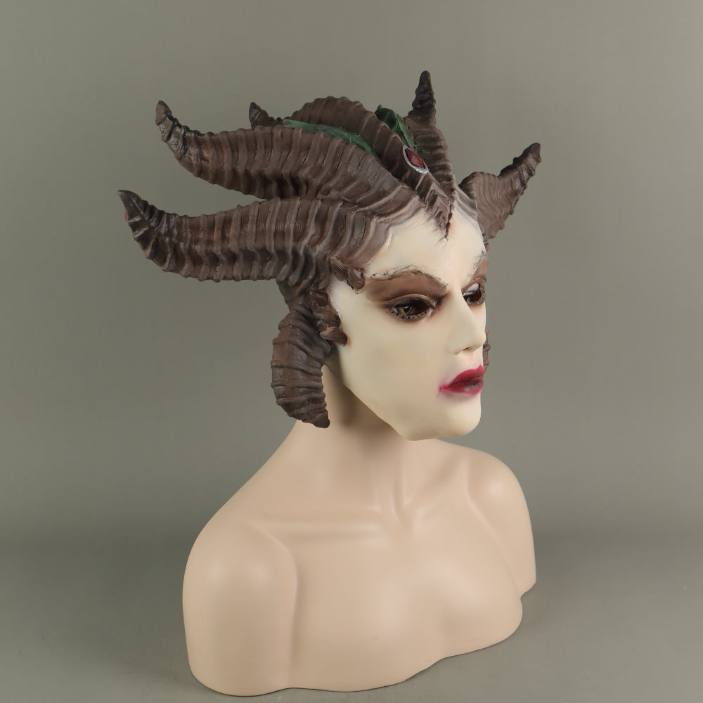 Game Diablo Lilith Sorceress Cosplay Latex Helmet Halloween Props