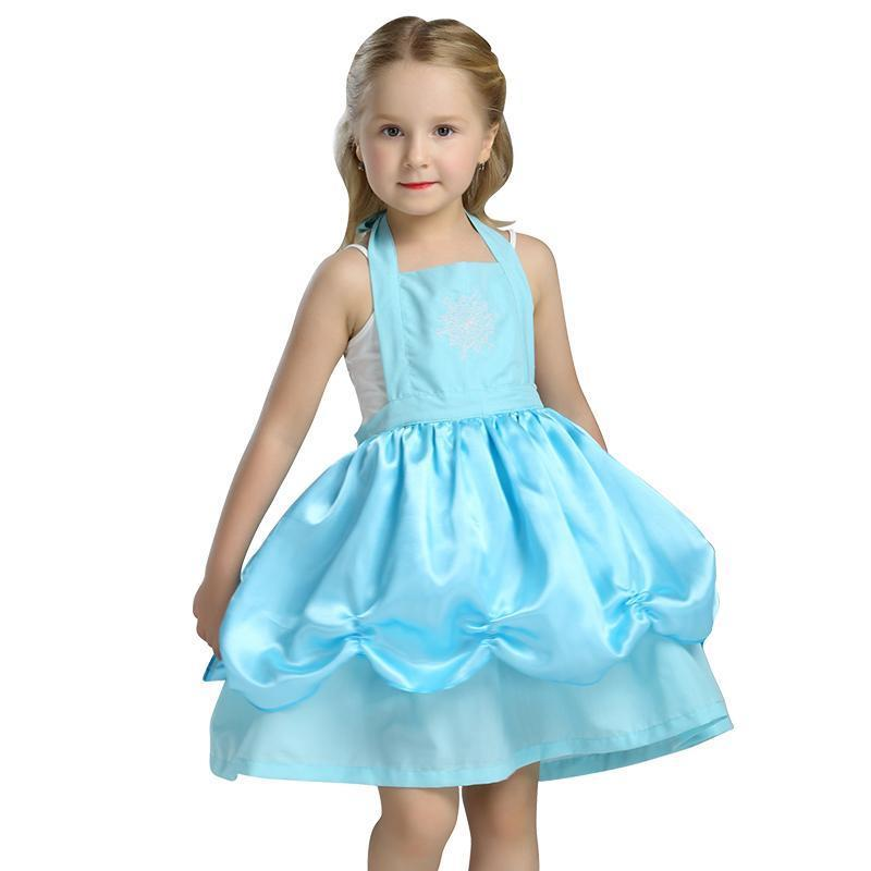 BFJFY Girls Elsa Kitchen Princess Dress Apron Halloween Cosplay Costume - bfjcosplayer