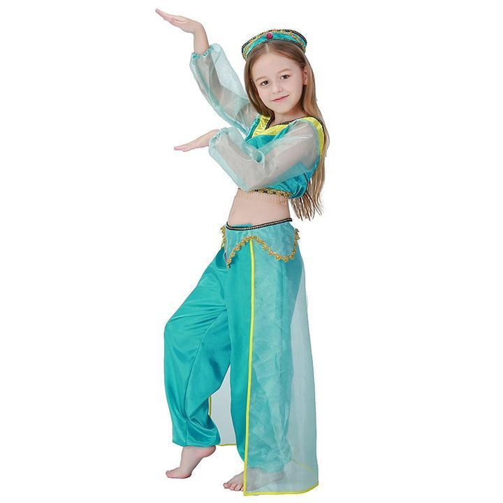 BFJFY Girls Arabian Royalty Princess Jasmine Halloween Costume - bfjcosplayer