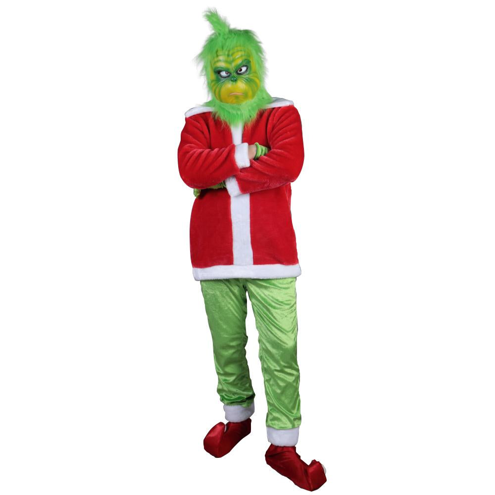 Christmas Adult Grinch Luxury Santa Costume with Mask cosplay suit - bfjcosplayer