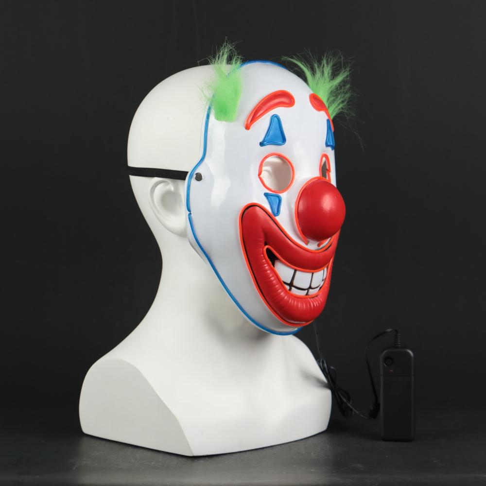 2019 Joker Pennywise LED Light Mask Stephen King Clown Cosplay Masks Green Hair Halloween Party Prop - bfjcosplayer