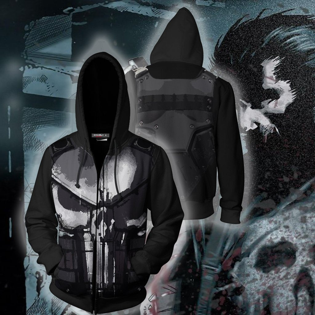 Marvel punisher 3D digital print zipper hooded sweater cosplay costume - bfjcosplayer