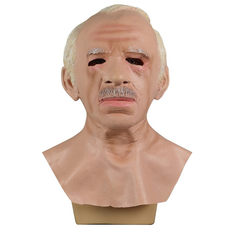 Old Man Scary Face Cosplay Latex Helmet Halloween Masquerade Props