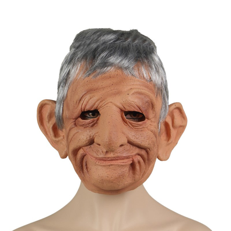 Old Woman Scary Face Cosplay Latex Helmet Halloween Masquerade Props