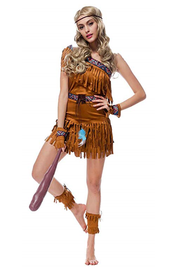 BFJFY Girls Females American Indian Princess Costume Dress Halloween Cosplay - bfjcosplayer