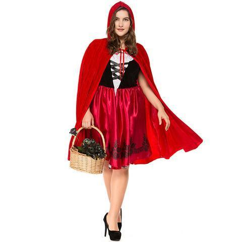 BFJFY Plus Size Little Red Riding Hood Adult Women Halloween Costume - bfjcosplayer