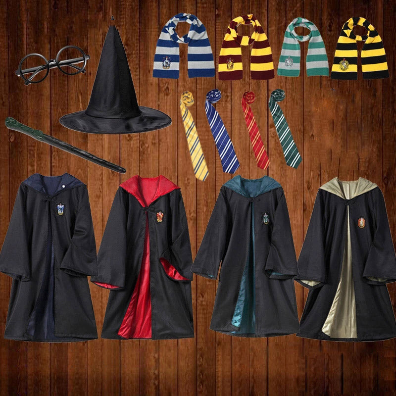 Harry Potter Cosplay Costume Suits Skirt Sweater Robe Scarf Wand Accessories Halloween Props