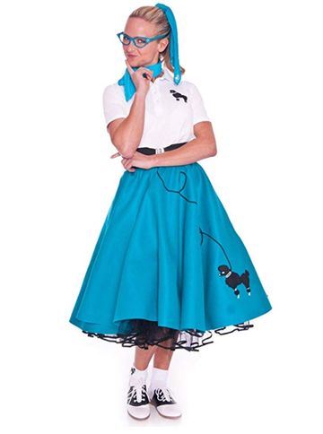 BFJFY Women 4 Piece Poodle Skirt Costume Set For Halloween Cosplay - bfjcosplayer