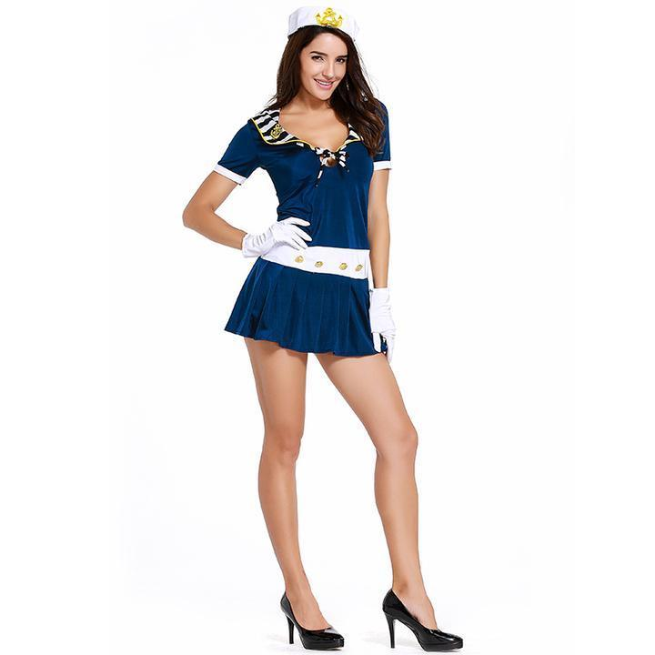 BFJFY Sexy Stunning 1950s Style Cadet Sailor Fancy-dress Adult Women Navy Theme Party Costume - bfjcosplayer