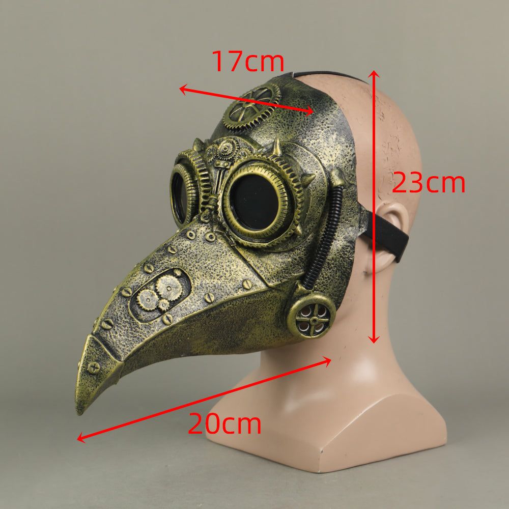 Steampunk Plague Doctor Bronze Vintage Style Short Mouth Cosplay Helmet Halloween Props