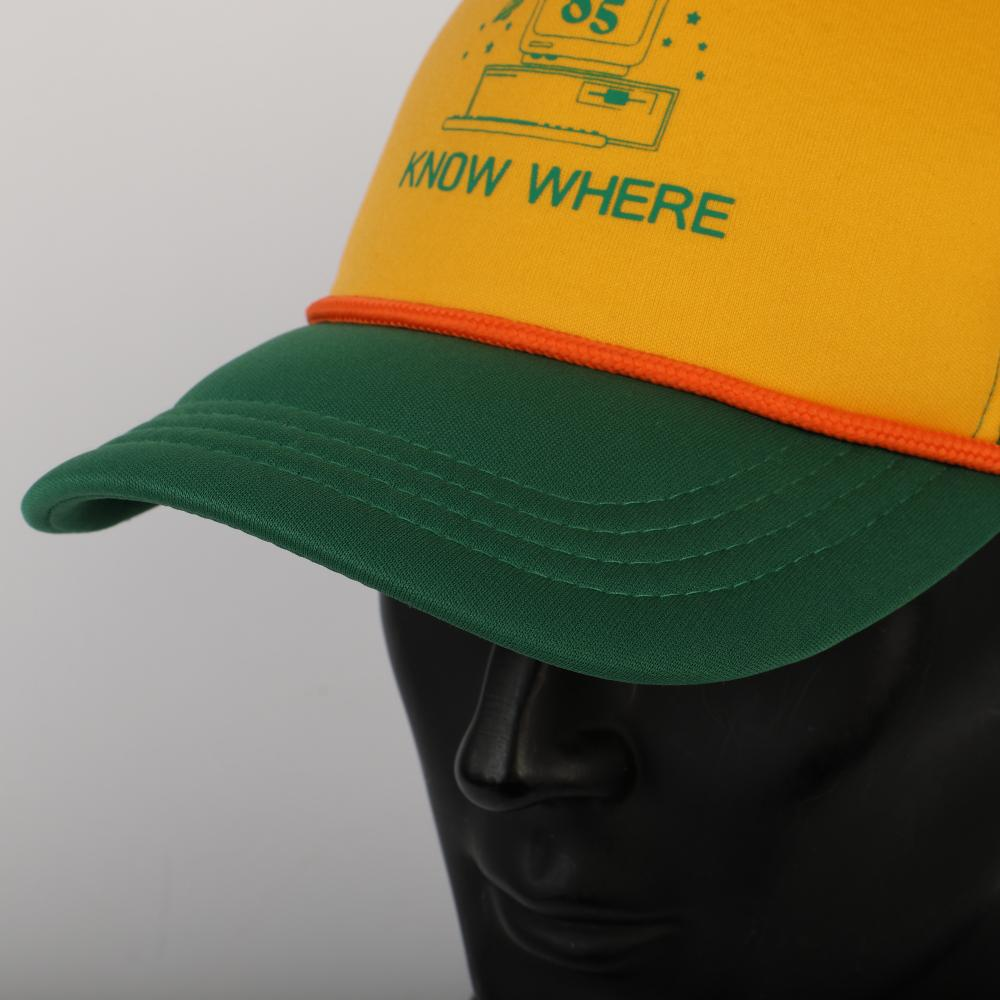 2019 Strange Things Dustin Hat Retro Mesh Trucker Cap Yellow Green 85 Know Where Adjustable Cap Gifts Halloween - bfjcosplayer