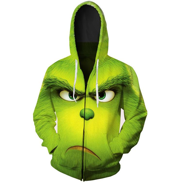 The Grinch hoodie Costume Cosplay Halloween Green Monkey 3D Digital Print Sweatshirt - bfjcosplayer