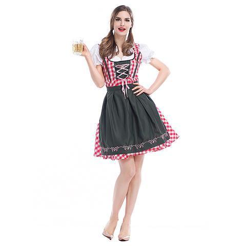 BFJFY Women Oktoberfest Scottish Grid Bavarian Beer Maiden Costume - bfjcosplayer