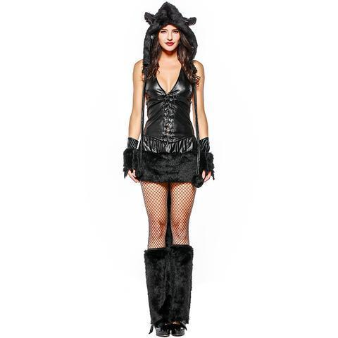 BFJFY Women Sexy Black Cat Faux Fur Animal Theme Party Costume - bfjcosplayer