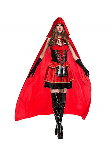BFJFY Women's Sexy Red Hood Costume Dress With Attached Hood Cape Halloween Costume - bfjcosplayer