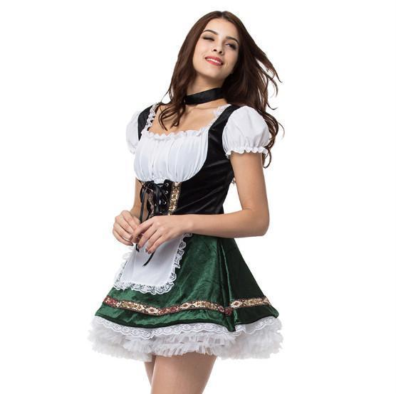 BFJFY Women Halloween Oktoberfest Costume Bar Maid Cosplay Costume - bfjcosplayer
