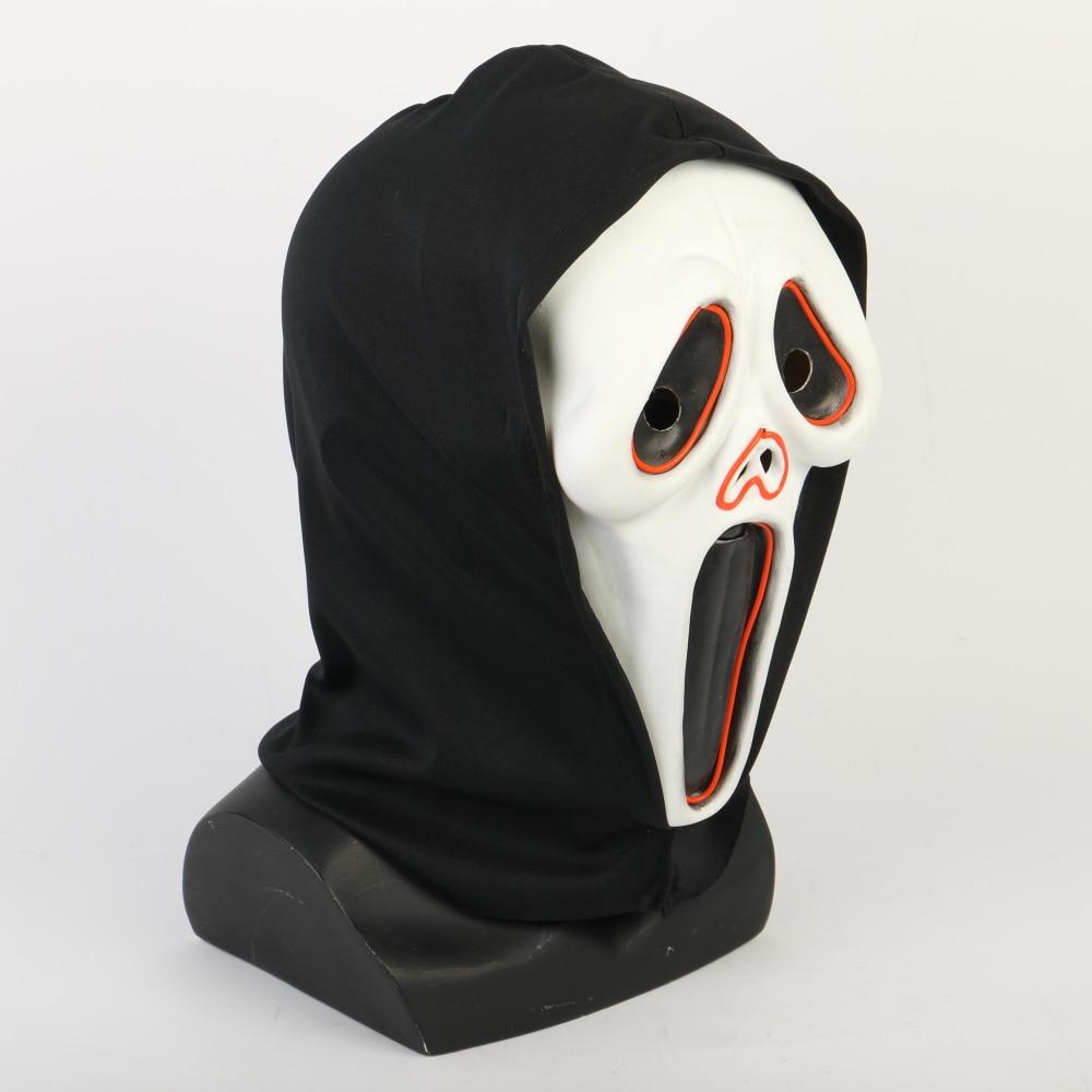 Halloween Ghost Face Mask Costume Luminous Scream Adult Scary Horror LED Mask Masquerade Costume Prop - bfjcosplayer