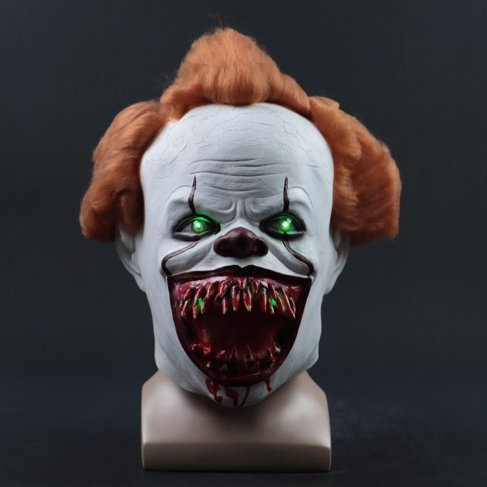 2019 New Pennywise Led Mask Latex Stephen King It  2  Joker Masks Helmet Halloween Party Dressed Scary Accessories Prop 3 Types - bfjcosplayer