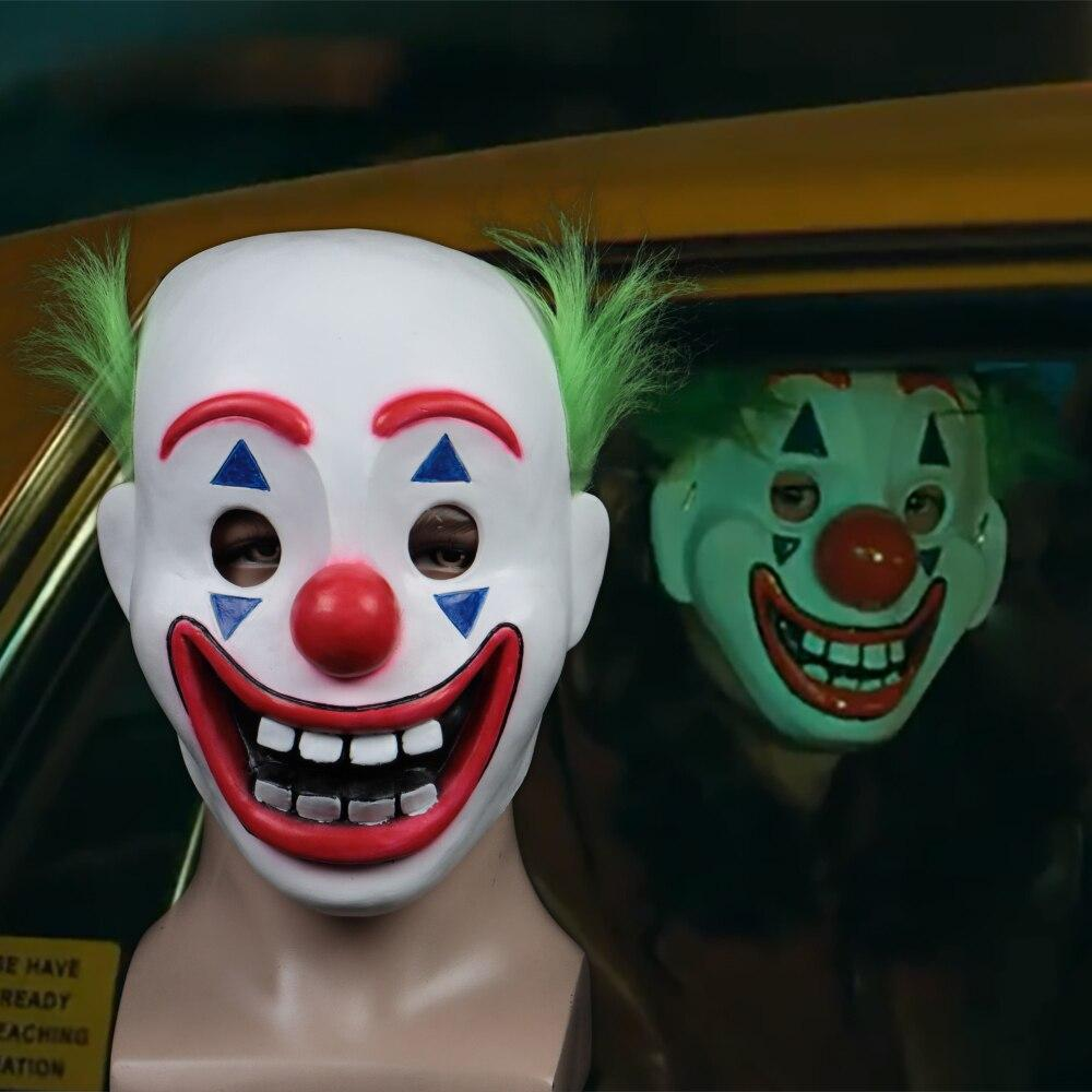 2019 Joker Pennywise Mask Stephen King It Chapter Two 2 Horror Cosplay Latex Masks Green Hair Clown Halloween Party Costume Prop - bfjcosplayer