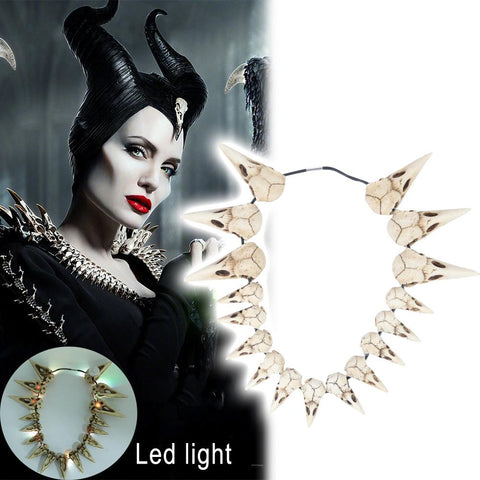 2019 New Movie Maleficent 2 LED Necklace Vintage Bird Beak Skull Charm LED Necklace Accessories - bfjcosplayer