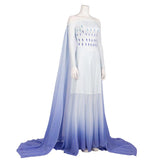 Frozen2 Elsa White Dress Made Princess Cosplay Costume Dress Elsa Hair Down White Dress Adult - bfjcosplayer