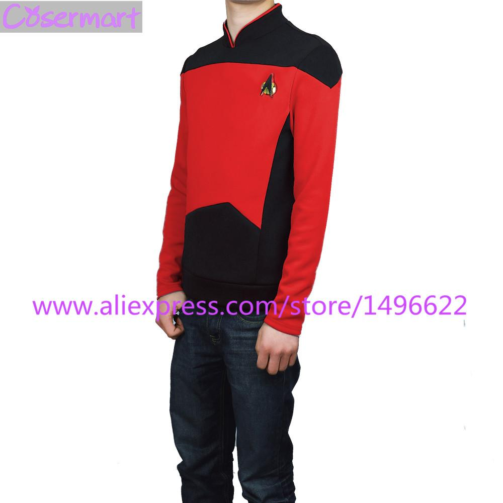 Star Trek TNG The Next Generation Red Shirt Uniform Cosplay Costume For Men Coat Halloween Party Prop - bfjcosplayer