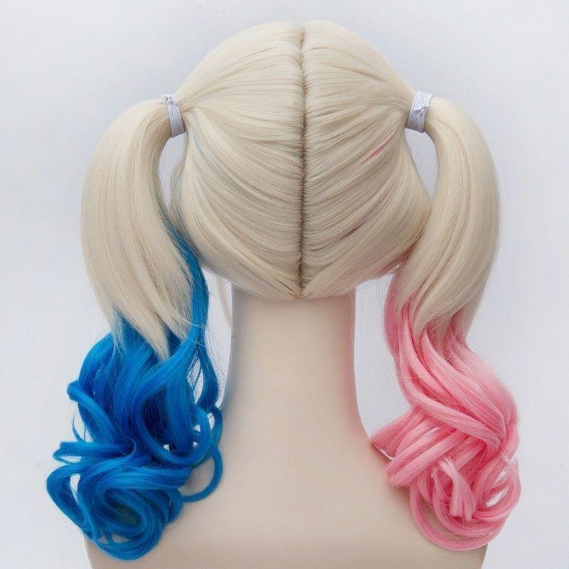 2016 Batman Suicide Squad Harley Quinn W ig Cosplay W igs Pink Blue Gradient Hair Halloween Party - bfjcosplayer