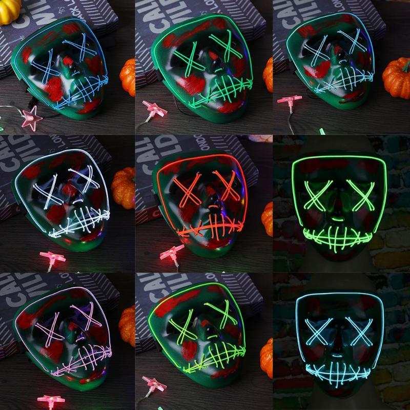 Halloween Mask Cold Light Fluorescent LED Masks Festival Glowing Luminous Party Masks Masquerade Cosplay Halloween Decoration - bfjcosplayer