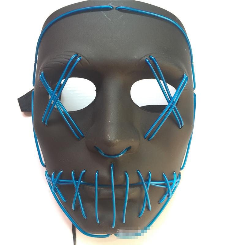 Halloween Led Luminous Mask Horror Grimace Bloody EL wire Halloween Carnaval Party Club Bar DJ Glowing Full Face Masks - bfjcosplayer