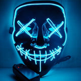EL Letter V Grimace Luminous Mask LED Party Mask Ball Props for Cosplay Halloween - Type A White - bfjcosplayer