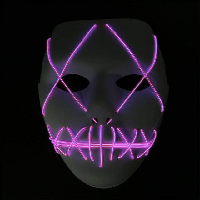 LED Mask Light Up Funny The Purge Mask Festival Cosplay Halloween Costume Supplies Glow In Dark Halloween Masks Drop Shipping - bfjcosplayer