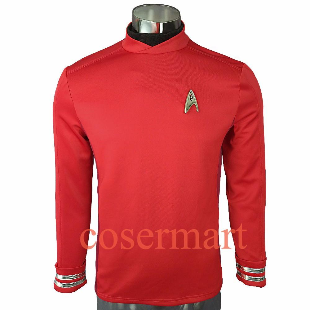 New 2016 Star Trek Costume Cosplay Star Trek Beyond  Sulu Costume Cosplay Sulu Red Uniform  Halloween Party - bfjcosplayer