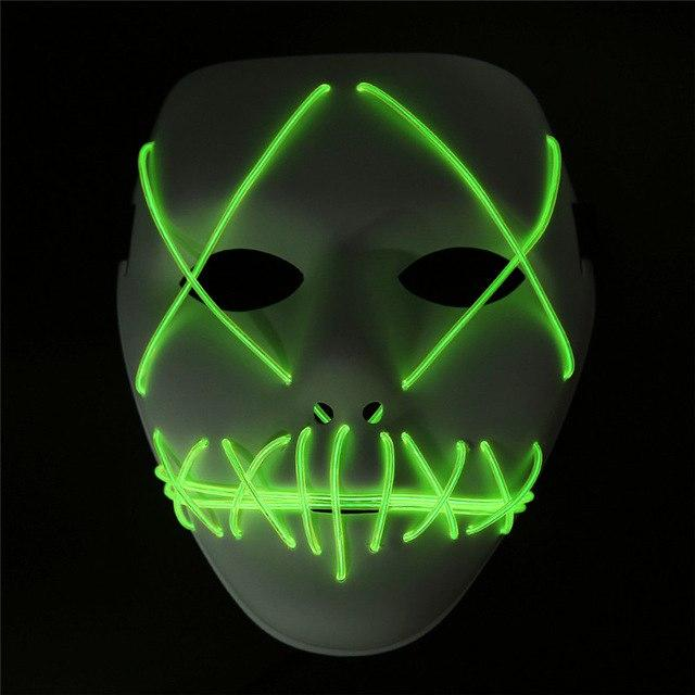 LED Mask Light Up Funny The Purge Mask  Festival Cosplay Halloween Decoration Costume New Year Cosplay Glow in Dark Masks - bfjcosplayer
