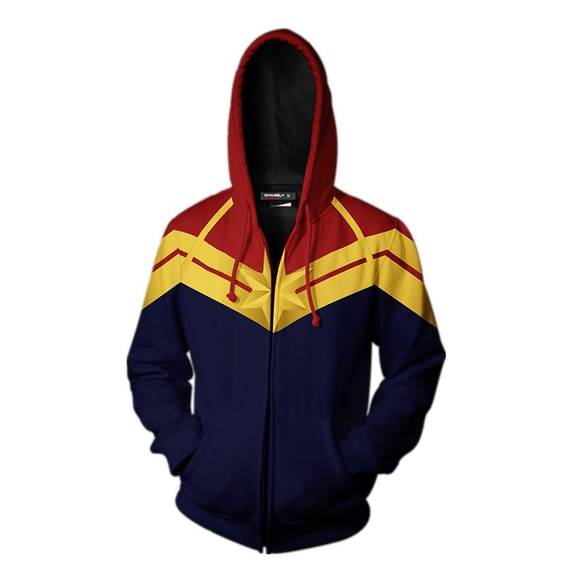 Captain Marvel Cosplay Costume Carol Danvers 2019 Superhero Hoodie Halloween Costumes Ms. Marvel Jacket Cosplay - bfjcosplayer