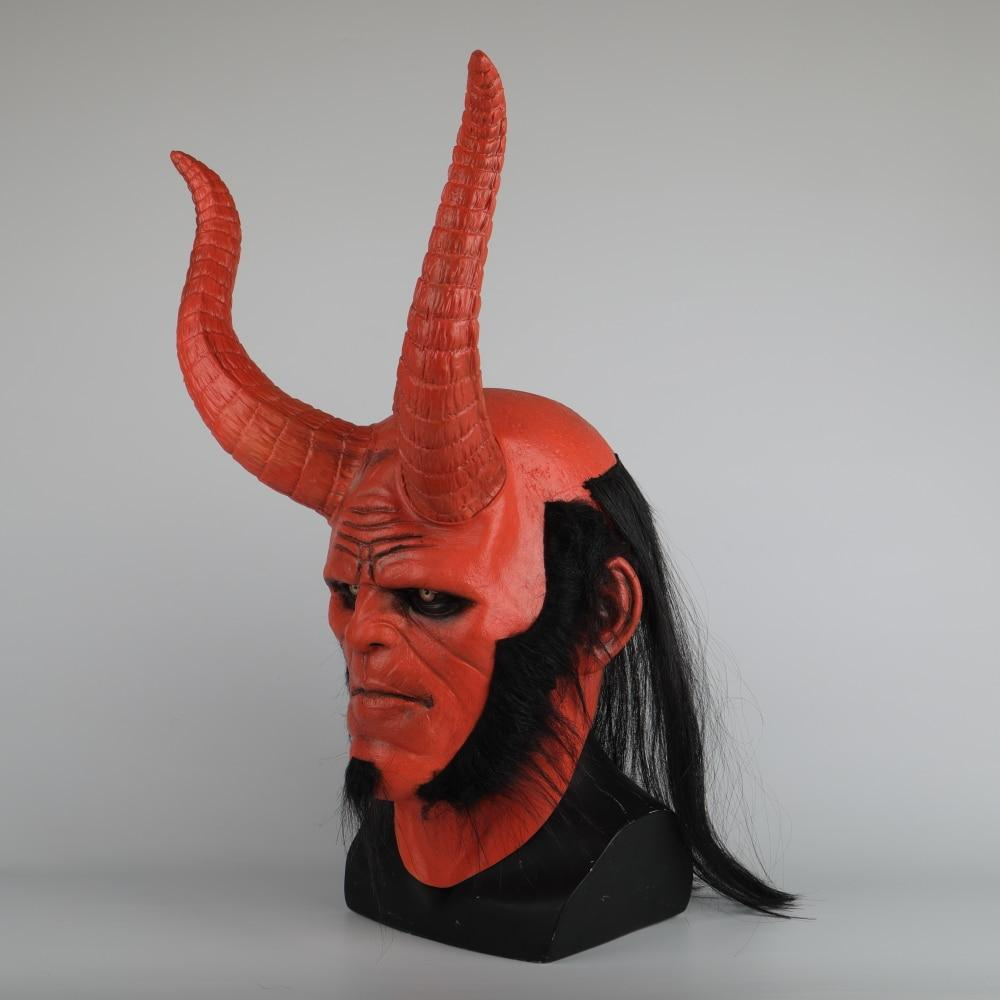 New Movie Hellboy: Rise of the Blood Queen Mask Ox Horn Mask Right Hand Cosplay Gloves Armor Latex Hand Gauntlet Party Halloween - bfjcosplayer