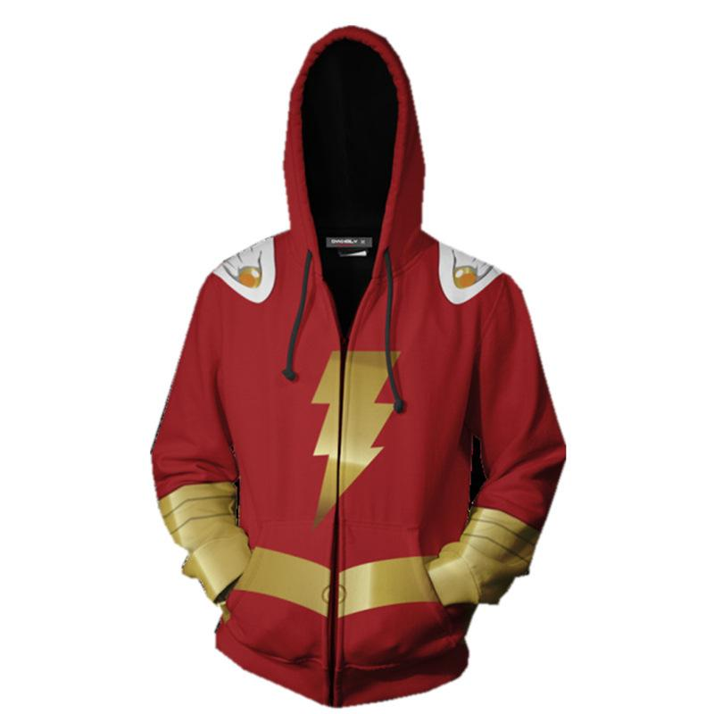 2019 New Hoodies Shazam Zip Up Hoodie Hoodies Costume Legion Clothing Shazam 3D Printed Zipper Hoodies Tops - bfjcosplayer