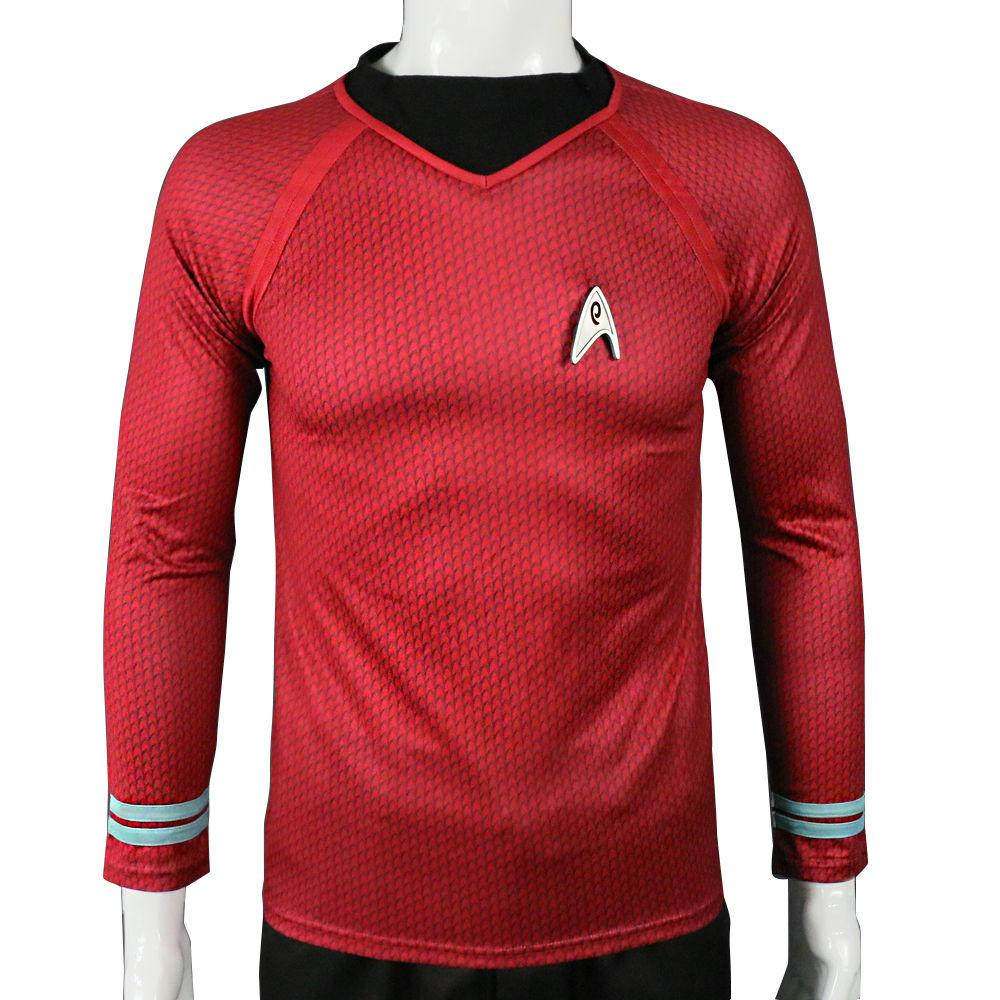 Star Trek in The Dark Captain Kirk Shirt Shape Cosplay Costume Red Version Size  For Men - bfjcosplayer